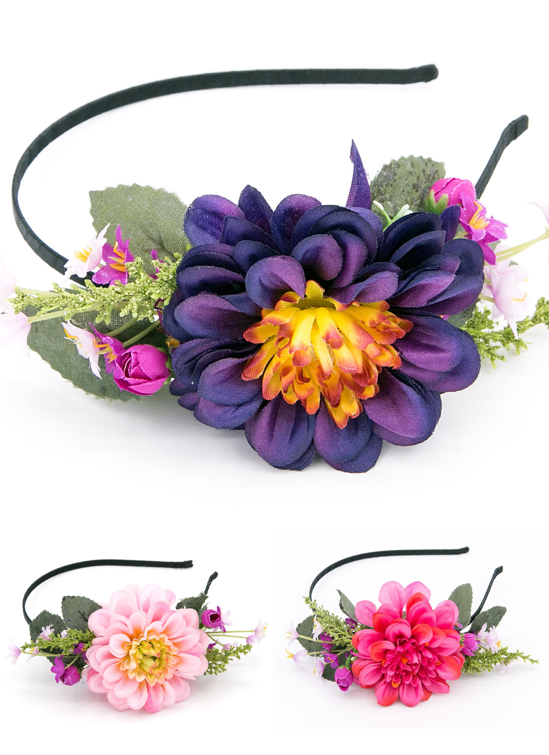 f625ea7f3db Čelenka do vlasů bohatá květinová chryzantéma CV0032
