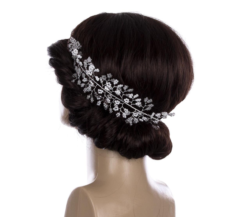 1558fd39eba Svatební ozdoba do vlasů - čelenka Stříbrná větvička velká s perly a  krystalky