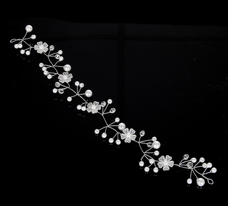 e0cbeb6b6c1 Fashion Icon Svatební ozdoba do vlasů - čelenka Wedding day větvička s perly  a krystalky ...