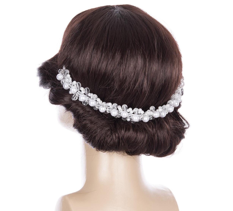 Svatební ozdoba do vlasů - čelenka Diamond crystal krystalky a perly do  vlasů 099a6fe5ee